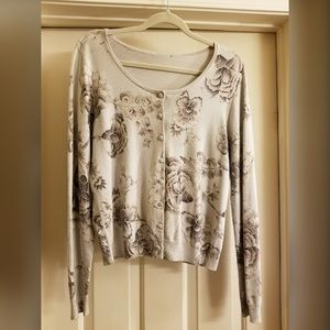 White House Black Market Floral Sweater